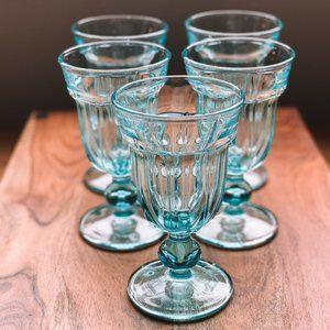 vintage | Set of 5 Aqua Teal Blue Pedestal Goblets